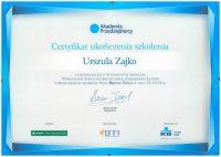 Certyfikat przedsiębiorcy dla adwokat Urszuli Zajko z Białegostoku