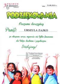 Podziękowanie dla mecenas Urszuli Zajko z Białegostoku