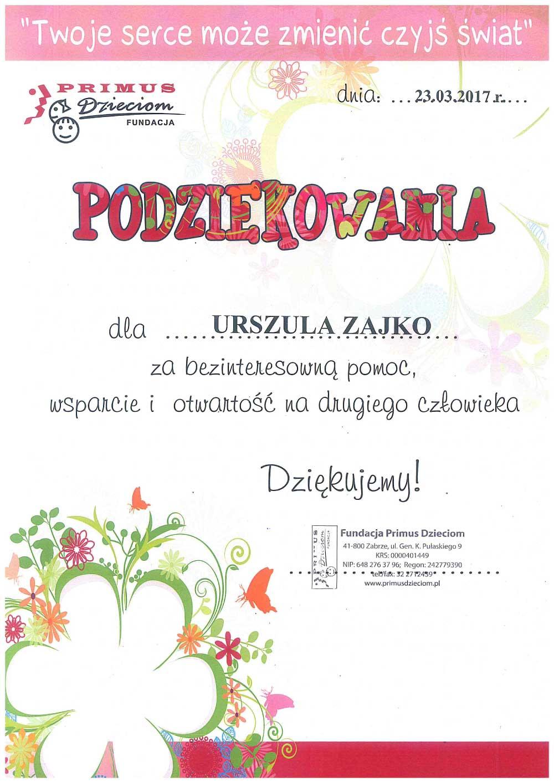 Adwokat Urszula Zajko - podziękowania