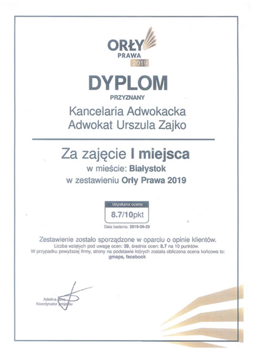 Dyplom plebiscytu Orły Prawa